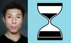 Photo of Takanori Kuge and image of an hourglass